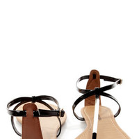 City Classified Elaine Black Patent and Gold Thong Sandals