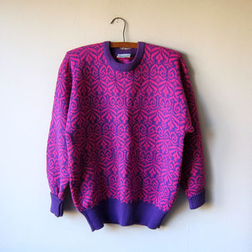 80s Geometric Ski Sweater in Bright Pink & Purple by Meister -- Ski Bunny Cosby Sweater, Winter Kawaii Fairy Kei