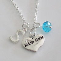 Middle Sister Necklace, Initial Necklace, Heart Necklace, Personalized Necklace, Silver necklace, Birthstone Necklace, Sister Gift