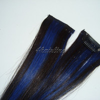 "10"" Blue and Black Human Hair Extensions Clip in Streaks 2 Pcs"