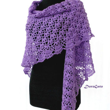 Purple lace shawl, triangle shawl crocheted, crochet shawl, crochet stole, wraps shawls, handmade shawl, wedding lace shawl, bridal shawl