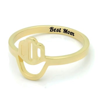 "Gold Hamsa Ring for Mom - 18K Gold Mothers Ring Engraved on Inside with ""Best Mom"", Ring Sizes 6 to 9 Mother Daughter Forever"