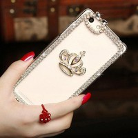 Glitter Crystal Rhinestone Fashion Bling Case Cover Clear Hard Phone Shell Protection for iPhone X 4s 5s 6 6plus 7/8  7/8plus