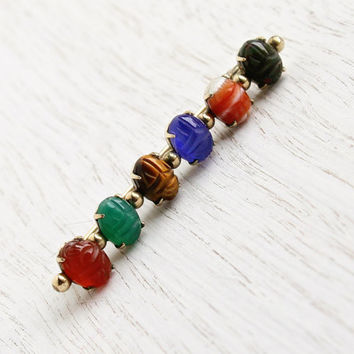 Vintage Scarab Bar Pin - 12K Gold Filled Semi Precious Stone Signed HSB Egyptian Revival Jewelry Brooch / Colorful & Tiny Beetles