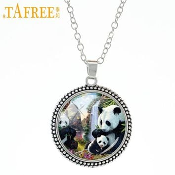 TAFREE Mom's Love Family affection pendant necklace vintage animal Panda Nordic wolf  bear elephant mother baby jewelry A541