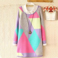 2016 New O-Neck Autumn Women Sweater Long Sleeve Pullovers Knitting Fashion Long Patchwork Outwear 71649
