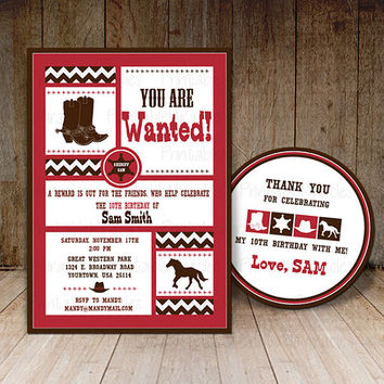 Western birthday party invitation and Thank you label / Kids Cowboy invite card / Wanted Western party printables for boy girl red brown