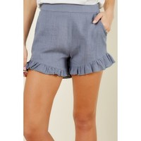 Are You For Frill Denim Blue Shorts