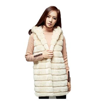 2017 Autumn and Winter New Women Hooded Faux Fur Coat Imitation Rabbit Fur Vest Plus Size Ladies Elegant Fur Coat Female A194