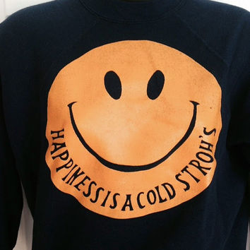 Vintage 1980s Happiness is a cold Stroh's crew sweatshirt Wilson