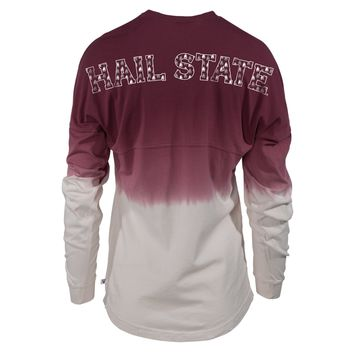 Official NCAA Mississippi State University Bulldogs HAIL STATE BULLY Long Sleeve Ombre Spirit Wear Jersey T-Shirt