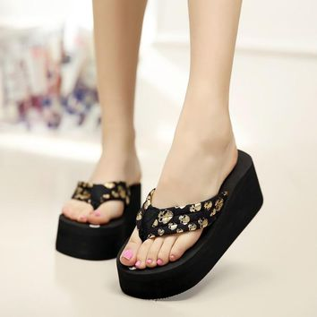 Women Flip Flops Wedges Platform Slippers Fashion Skull Sandals Wedge