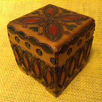 Carved Linden Wood Trinket Box - Hinged Lid - Made in Poland - Handcrafted - Treasure Box