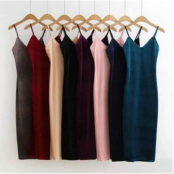 Sexy AA Backless V neck Sleeveless Side Slit Velvet Dress 2016 New Women BM Retro Velour Long Spaghetti Strap Base Dress 8 color