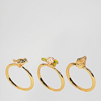 Bill Skinner Gold Plated Birdhouse STACKING Rings at asos.com