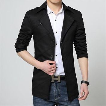 New Spring Autumn Men Trench Male Popular Casual Slim Outerwear Turn Down Collar Clothes Cotton Short Tops Large Size M-6XL