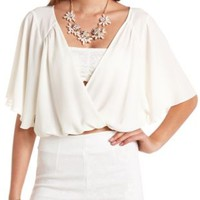 Cape Sleeve Sheer Wrap Crop Top by Charlotte Russe