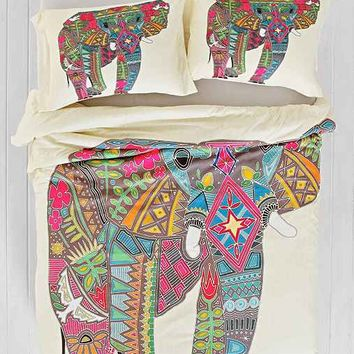 Sharon Turner for DENY Painted Elephant Duvet Cover- Cream