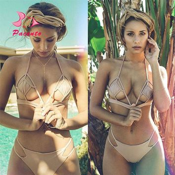 Pacento 2017 New Khaki Micro G String Bikini Brazilian Sexy Hollow Women's Swimsuit Bathing Suit Women Swimwear Beach Plavky XL