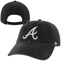 Atlanta Braves '47 Brand Basic Logo Clean Up Road Adjustable Hat - Navy