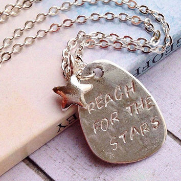 Personalized Star Necklace. Reach For the Stars Necklace. Inspirational Quote initial Necklace
