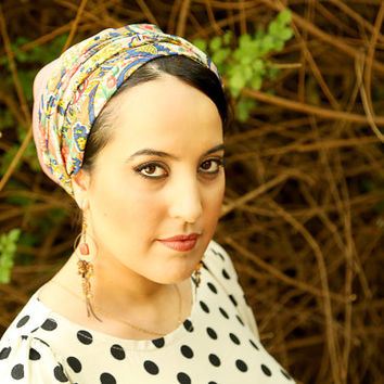Pink head scarf – Paisley headcovering  – Hair snoods – Viscose Headpiece