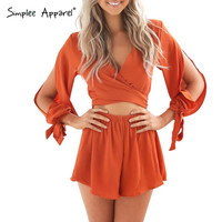Simplee Apparel Summer 2016 chiffon bow white elegant jumpsuit romper Casual beach split overalls Deep v neck playsuit women