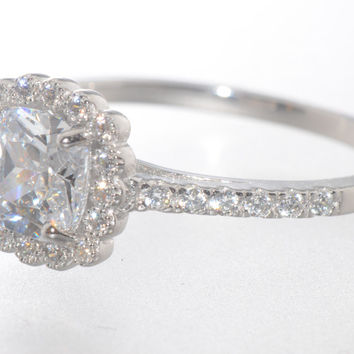 Sterling Silver CZ Ring 8mm Square Princess Cut Center Stone with Accent Stones