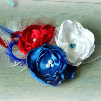 Red White and Blue Flower Sash with Feathers for Maternity, Pregnancy Photo Prop, Wedding or Flower Girl