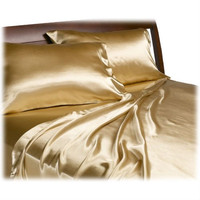 CA King size Satin Sheet Set in Lustrous Gold Color
