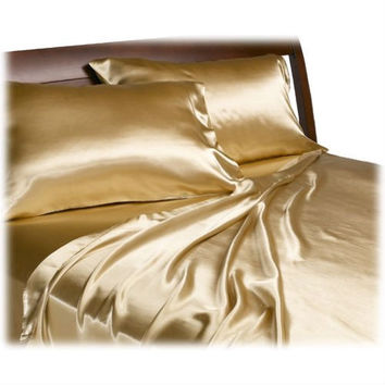 California King Size Satin Sheet Set in Lustrous Gold Color