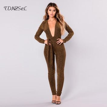 TDNZSeL Brand Women's Long-Sleeve Slim Fit One-Piece Sexy Jumpsuit
