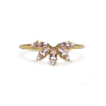 14kt Gold Pink Morganite & Diamond Butterfly Ring