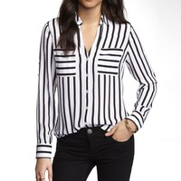 STRIPED CONVERTIBLE SLEEVE PORTOFINO SHIRT