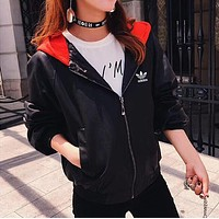 """Adidas"" Fashion Letter Print Loose Long Sleeve Hooded Cortex Cardigan Coat"