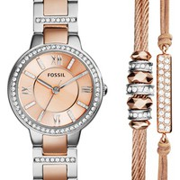 Women's Fossil 'Riley' Crystal Accent Bracelet Watch & Bracelets Set - Rose Gold/ Silver