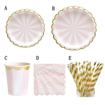 69pcs/set Paper tableware Birthday Party Supplies Gold Paper Tray Cups Straws Napkins