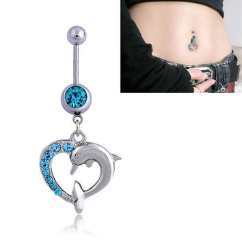 14G Narbell Bar Rhinestone Double Dolphin Heart Belly Dance Navel Button Ring [9791260047]