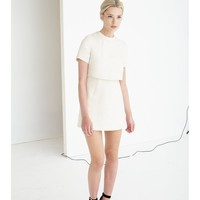 Cream Metallic Boucle Cropped Dress | Dresses | Lavish Alice