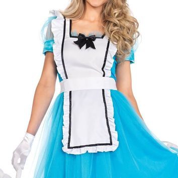 Wonderfully Sweet Light Blue White Short Puff Sleeve Square Neck Sheer Tulle Overlay Ruffle Bow Apron Flare A Line Midi Dress Halloween Costume