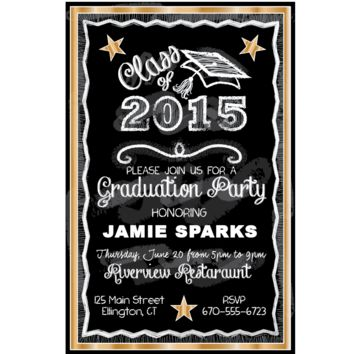 Gold Chalkboard Graduation Party Invitations