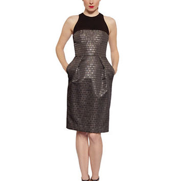 Carmen Marc Valvo Metallic Jacquard Pocket Dress
