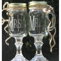 Rustic Pair of Redneck Wine Toasting Glasses