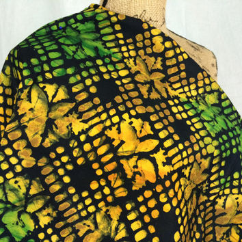 Kenyan Batik Fabric--African Batik Print Fabric--Golden Yellow and Green/Grids and Leaves--African Fabric by the HALF YARD