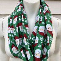 Santa Claus Christmas Scarf-Toddler Kid's Green Holiday Scarf-Women's Handmade Flannel Infinity Scarf-Mommy and Me-Chunky Winter Scarf