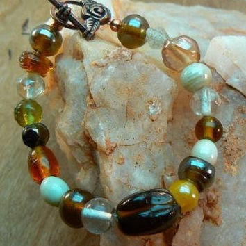 Mixed Glass Brown Bead Bracelet