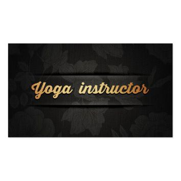 Elegant Yoga Instructor Luxury Black & Gold Floral Business Card