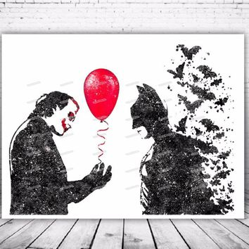 Batman Dark Knight gift Christmas Original Watercolor Batman and Joker poster prints canvas painting Modern wall art Pictures Living Room Home Decor Giclee print AT_71_6