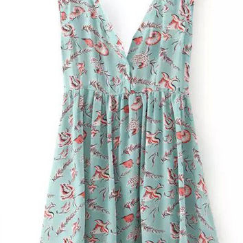 Blue Green V-Neck Floral Print Pleated Dress