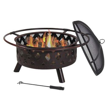 30 Inch Bronze Crossweave Wood Burning Fire Pit with Spark Screen by Sunnydaze